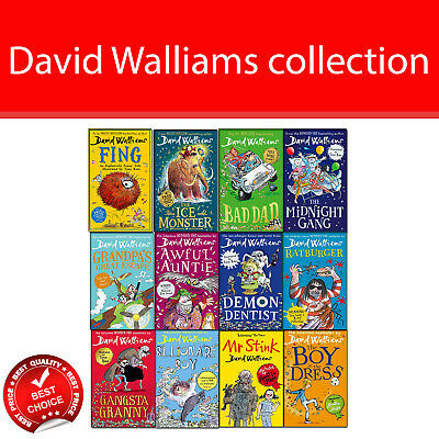 David Walliams books collection Pack set children Fing, Ice Monster, Bad Dad NEW