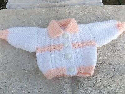 Brand New Hand Knitted Baby Girl Peachy Pink  & White  Aran Cardigan With Collar