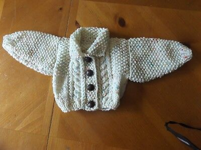 Brand New Hand Knitted Baby Girls Cream Fleck  Aran Cardigan With Collar