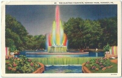 Electric Fountain Hershey Park Hershey Pa Vintage Postcard Pennsylvania Linen
