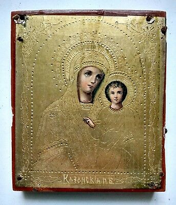 Rare Orthodox Icon Mother of God of Kazan Levkas Tempera Gilding Hand Painted