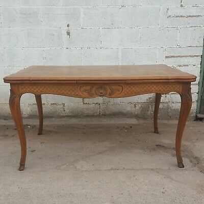 Antique Vintage French Draw-Leaf Dining Table with Marquetry and Carving