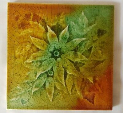 Old Pilkington English Floral Design Tile  Stunning Warm Tones