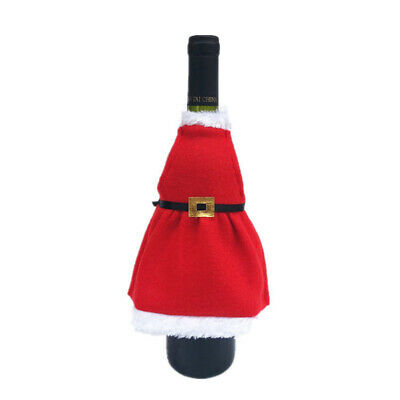 Christmas Velvet Apron Wine Bottle Cover Clothes Party Table Xmas Decoration New