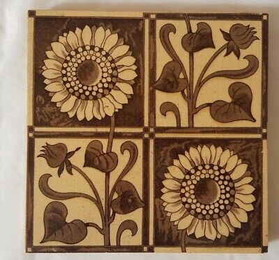 Charming Victorian Sunflower Design Antique 6 Inch Tile