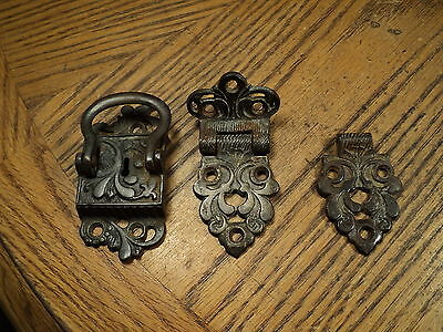 Antique Brass Ornamental Box Chest Hardware Hinges & Latch No 1908 R.H. 1942