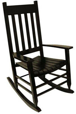 Rocking Chair with Slat Seat Solid Wood Indoor Outdoor 250 lb Weight Limit Black