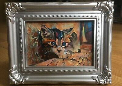 Cat Beautiful Face aceo Double  original 3,5x5 Inch Acrylic Painting With Frames