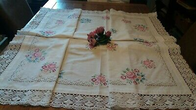Vintage White Hand Embroidered Cross Stitch Tablecloth With  Crochet Edge.