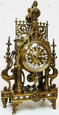 Antique French 8 Day Bronze Portico Mantel Clock, Oriental Influenced Designs
