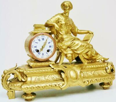 Antique French 8 Day Lady Figurine Mantel Clock Gilt Metal Striking Mantle Clock