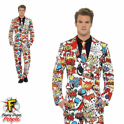 Mens Stand Out Comic Strip Suit Stag Do Costume Party Funny Festival Fancy Dress