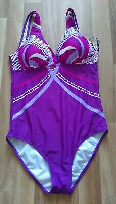 KATIA   Swimsuit Padded Top Size 14 Ladies Womens Purple Pink Mix Ex Cond