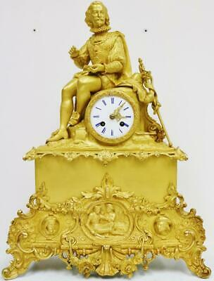 Large Antique French Empire 8 Day Bronze Ormolu Classical Figurine Mantel Clock