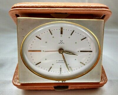 Vintage Rare H.A.C  7 jewels Travel Alarm Clock, Brown Leather, working