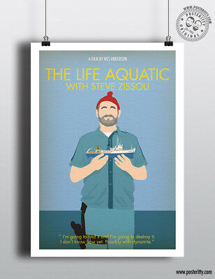 THE LIFE AQUATIC - Minimalist Movie Poster Minimal Print Wes Anderson Art Zissou
