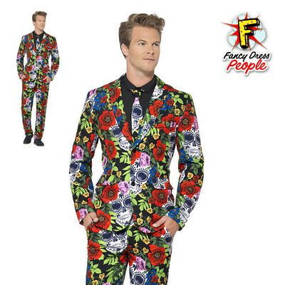 Mens Stand Out Day of the Dead Suit Stag Do Costume Party Mexican Fancy Dress