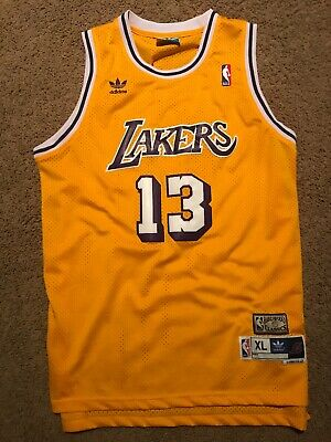c7a52ff7c76 Los Angeles Lakers Wilt Chamberlain Gold Jersey Size XL Adidas Hardwood  Classics