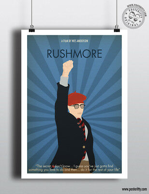 RUSHMORE  Minimalist Movie Poster Minimal Print Wes Anderson Art Film Posteritty