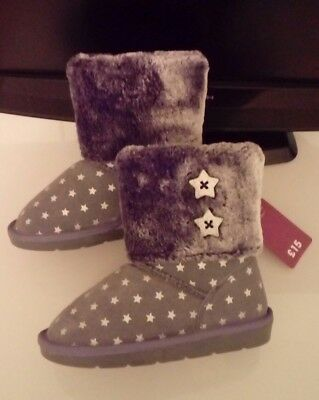 New Girls Winter Grey/Silver Suede Boots with Star Pattern Size 9 Infant