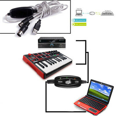 IN-OUT MIDI Interface Cable Converter to PC Music Keyboard Adapters Cord Hot USB