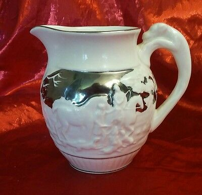 """Silver Wedgewood of Etruria & Barlaston Numbered  4"""" Creamer Pitcher Horses Dogs"""