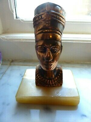 Vintage Art Deco Egyptian Queen Nefertiti coppertone Brass Bust on Onyx Base.