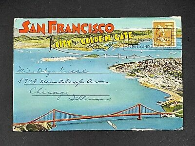 WWII 1941 San Francisco Souvenir Fold-Out Post Card Book~City by the Golden Gate