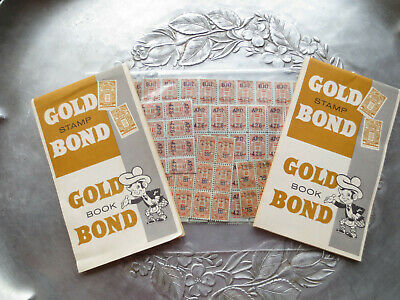 2 Vintage Gold Bond Trading Stamps Books, 3+ sheets stamps loose collectible
