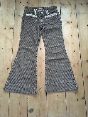 Girls trousers age 8 striped flared casual brown mix designer Nolita New