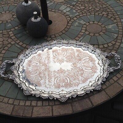 Large Vintage Silver Plated On Copper Tray