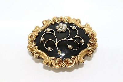 A Nice Antique Victorian Rolled Gold Enamelled Diamond & Pearl Half Buckle