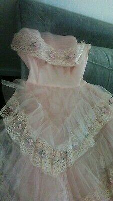 Vintage 1950's 50s Strapless Pink Tulle Lace Prom Wedding Party Dress