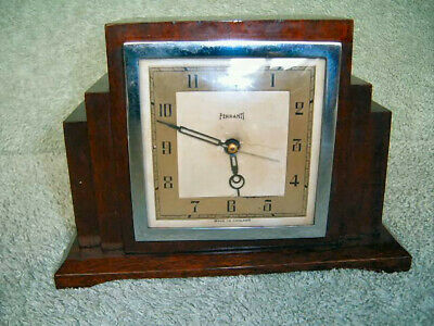 "Ferranti Electric clock (mains) Wooden Case working order 51/2""tall 8""wide GCon"