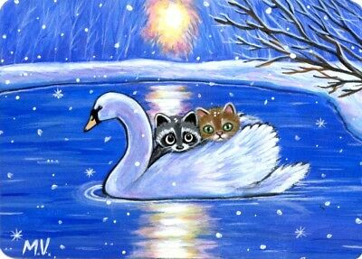 Original Raccoon Cat Kitten White Swan Winter Snow Sunset Lake Warmth ACEO Print