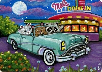 Raccoon Cat Kittens 50's Diner Car Summer Moon Flowers ACEO Print from Original
