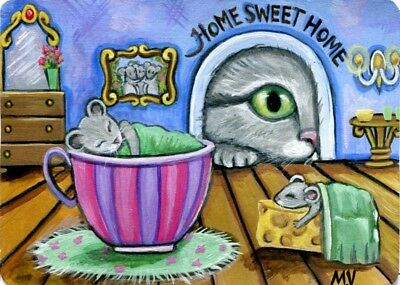 Original Raccoon Artist Cat Mouse House Home Curiousity Peeking ACEO Print