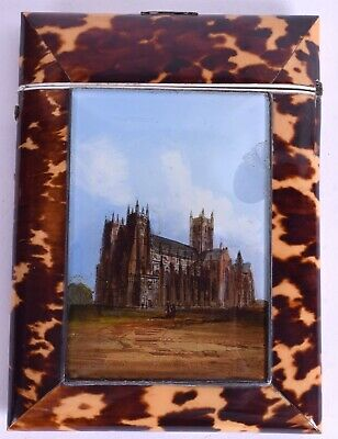 antique card case regency antique reverse painted Canterbury cathedral silver