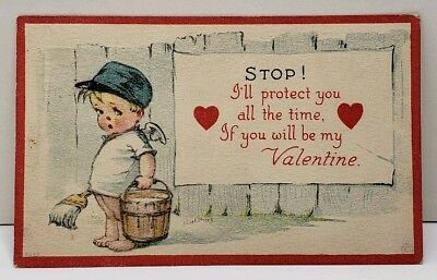 Valentine Signed Adorable Boy Angel Paint Bucket  I'll Protect You Postcard E2
