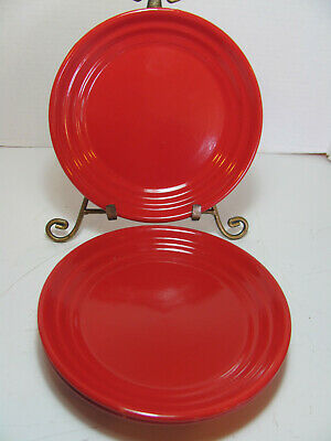 Home Stoneware Red Ribbed Set Of 4 Salad Plates