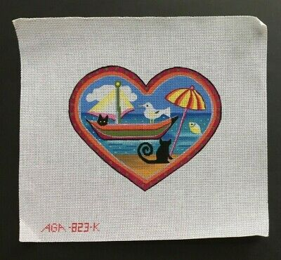 AGA Designs Hand-painted Needlepoint Canvas Heart With Cats on the Beach