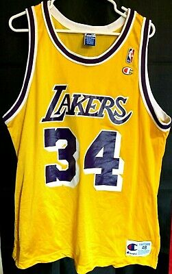 bc51130171cb AUTHENTIC PRO CUT Nike Shaquille O neal Shaq Gold Lakers Jersey ...