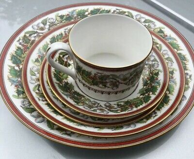 Spode Christmas Rose ONE 5-PIECE PLACE SETTING England, Dinner Salad Cup Saucer