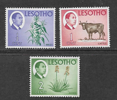 Kingdom Of Lesotho - Mint Set Of 3 1967 Definitive Stamps National Products