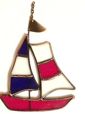 Red White & Blue Sailboat Stained Glass Suncatcher