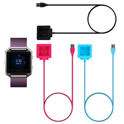 Black/Pink USB Charging Cable Power Charger Dock Cradle For Fitbit Blaze Watch