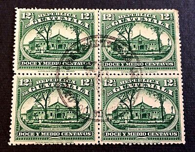 Guatemala 1922 - block of 4 canceled stamps 12 1/2 Centavos - Michel No. 189