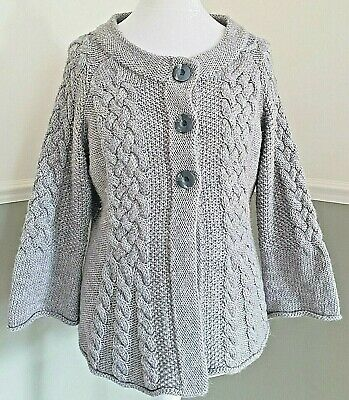 M&S Grey Cardigan Chunky Alpaca Blend Soft Cable Knit Fluted Sleeve UK 18