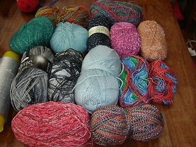Huge lot of king cole etc glitter yarn mixed colours projects etc 1180g