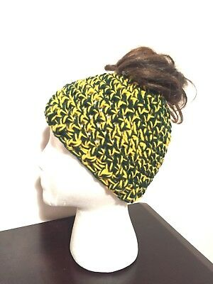 super popular cee7a 24819 Green Bay Packers Inspired Hand Crocheted Women s Messy Bun Beanie Ponytail  Hat